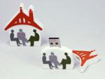 Kundenlogo Logo in mehreren Farben Haus mit Dach und Menschen als individueller USB-Stick