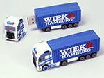 LKW Transporter mit container Seecontainer und Logo als USB-Stick