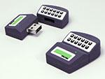 Maschine mit Tasten zum schreiben und Beschriften mit Logo als USB-Stick