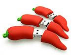 Peperonie USB-Sticks mit Logo in rot als Werbegeschenk