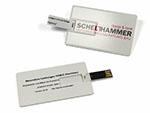 Schelthammer USB-Stick in der Form einer Visitenkarte beidseitig bedruckt mit logo