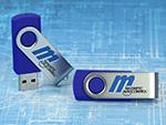 twister usb stick mit logo druck in wunschfarbe blau