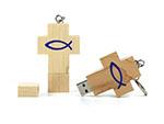 Christliches Werbegeschenk USB Stick in Kreuzform aus Holz