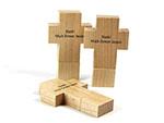 Holz Kreuz USB-Stick mit einfarbigem Druck Spruch