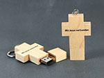 Christliches Holzkreuz Werbegeschenk USB-Stick