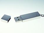 USB-Stick in schlichter Form mit verchromter Oberfläche