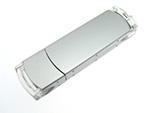 USB-Stick mit transparentem Gehäuse und Metall Platten für Druck und Gravur