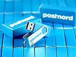 usb stick cyan blau postnord logo CI verpackung