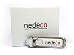 Weißer Nedeco Leder USB-Stick mit weißer Geschenkverpackung