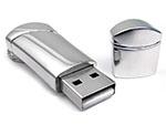 Werbeartikel USB-Stick aus glänzenden Metall mit Logo