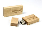 Werbeartikel USB Stick aus Holz breit mit Logogravur